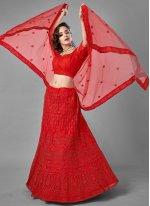 Net Dori Work Red Lehenga Choli