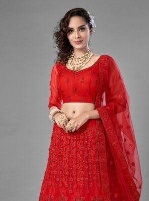 Net Dori Work Red Lehenga Choli