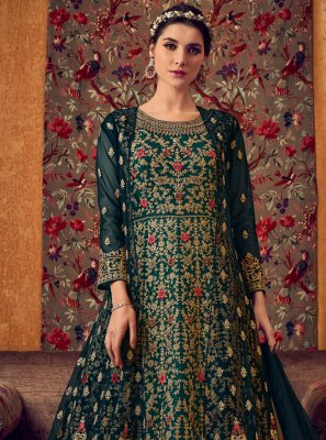 Net Embroidered Anarkali Salwar Kameez in Teal