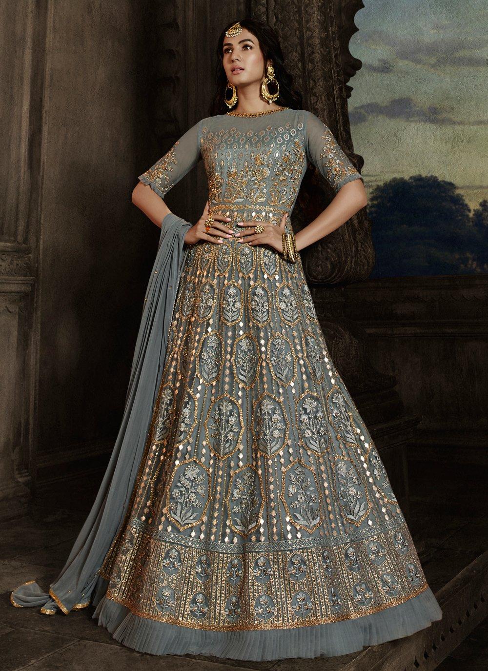 Net Embroidered Blue Designer Salwar Kameez