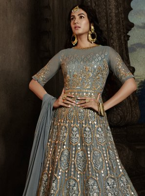 Net Embroidered Blue Designer Salwar Kameez