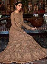 Net Embroidered Brown Desinger Anarkali Suit