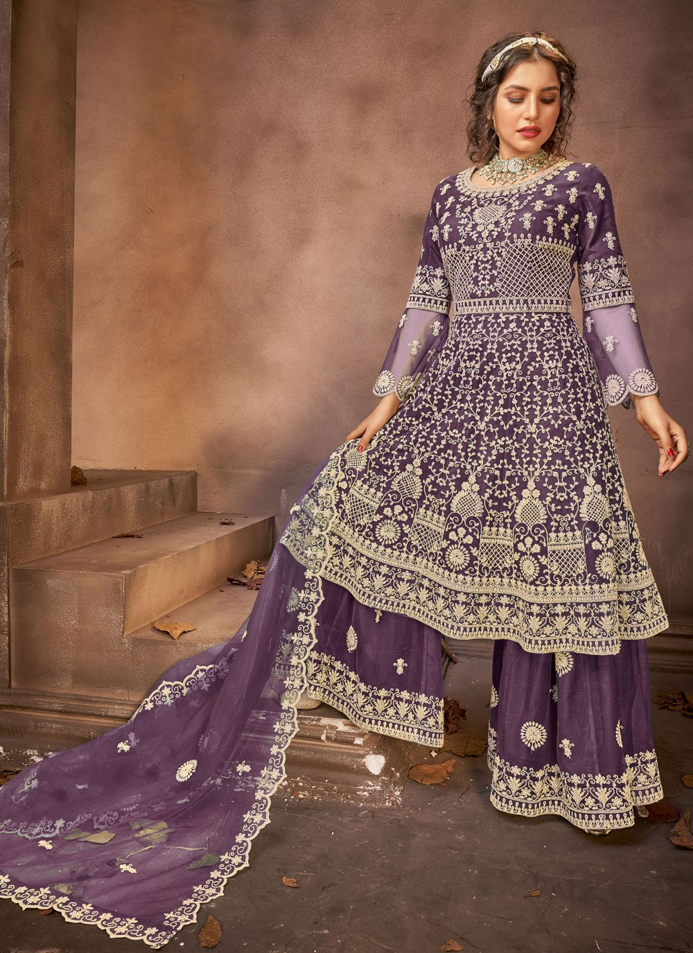Net Embroidered Designer Pakistani Suit in Purple