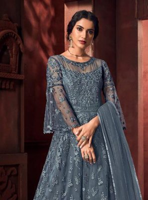 Net Embroidered Floor Length Anarkali Suit