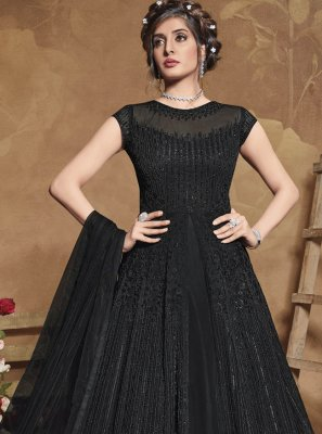 Net Embroidered Floor Length Anarkali Suit in Black
