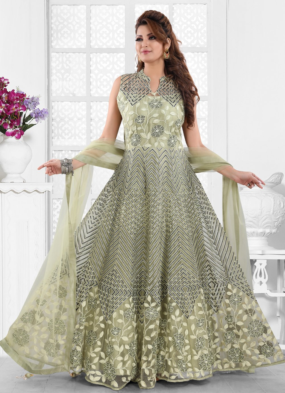 Net Embroidered Green Floor Length Anarkali Suit