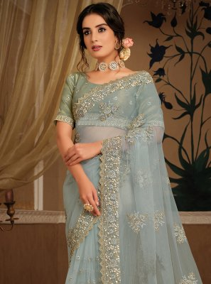 Net Embroidered Grey Classic Designer Saree