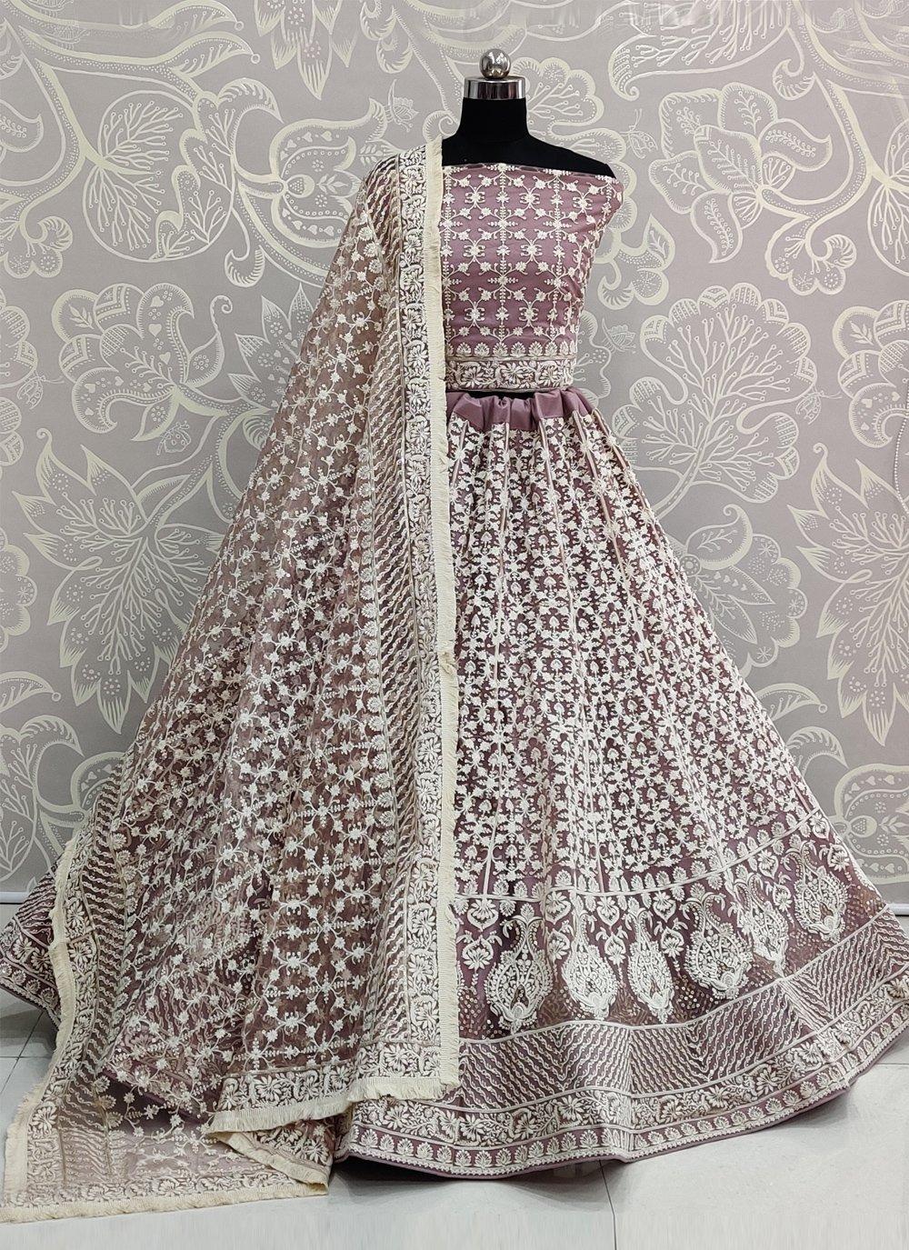 Net Embroidered Lavender A Line Lehenga Choli