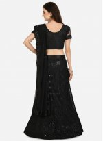 Net Embroidered Lehenga Choli in Black