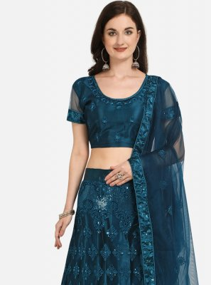 Net Embroidered Lehenga Choli in Blue
