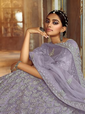 Net Embroidered Lehenga Choli in Grey