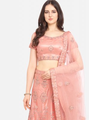 Net Embroidered Lehenga Choli in Peach