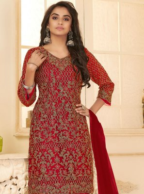 Net Embroidered Maroon Pant Style Suit