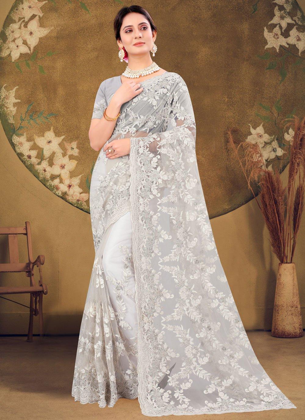 Net Embroidered Off White Designer Saree