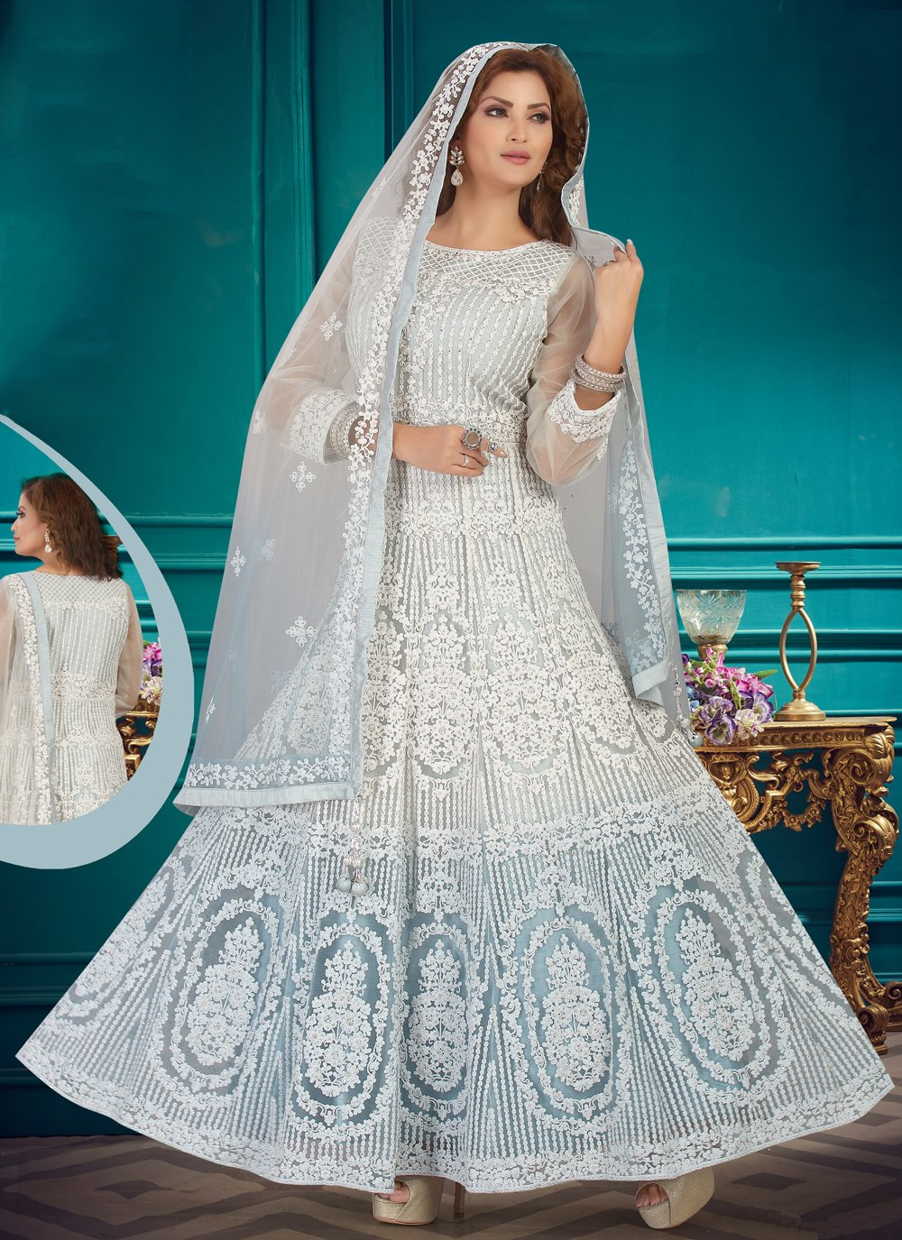 Net Embroidered Off White Readymade Suit