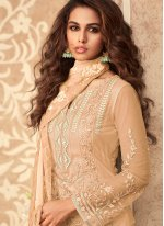Net Embroidered Peach Designer Palazzo Suit