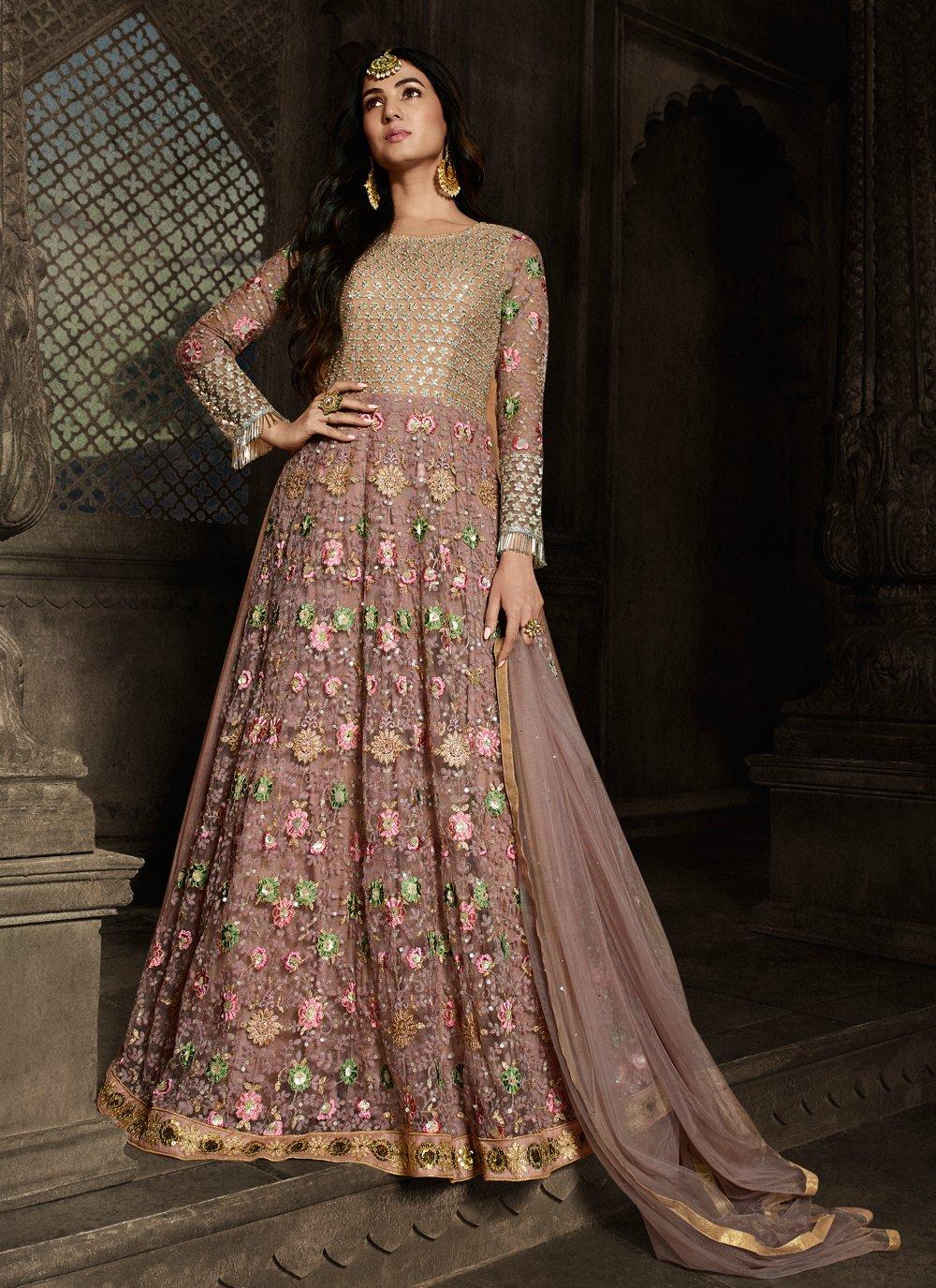 Net Embroidered Pink Anarkali Salwar Kameez