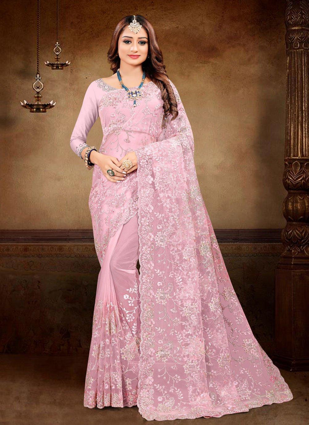 Net Embroidered Pink Classic Designer Saree