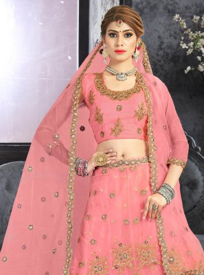 Net Embroidered Pink Lehenga Choli