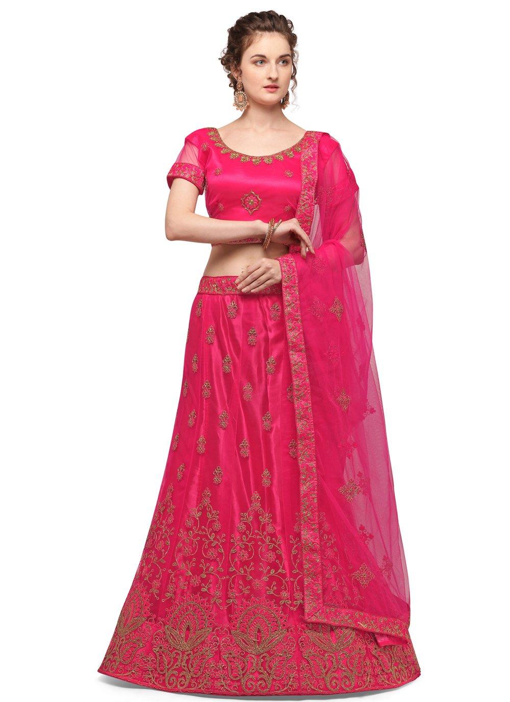 Net Embroidered Pink Lehenga Choli