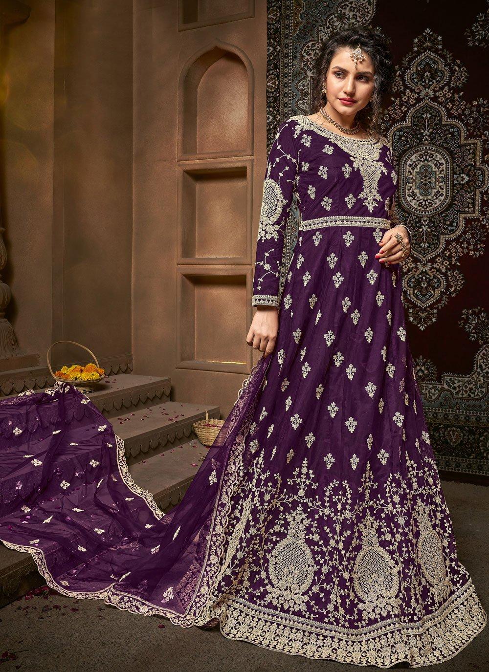 Net Embroidered Purple Bollywood Salwar Kameez