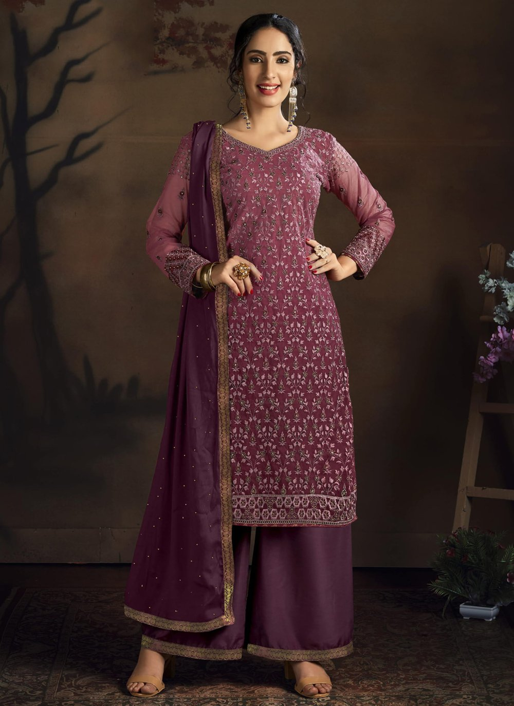 Net Embroidered Purple Designer Palazzo Suit