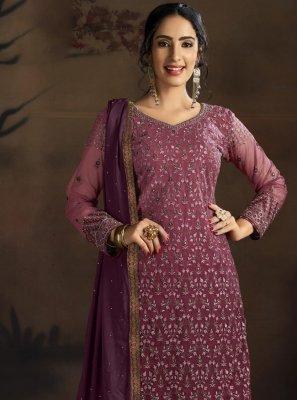Net Embroidered Purple Designer Palazzo Suit
