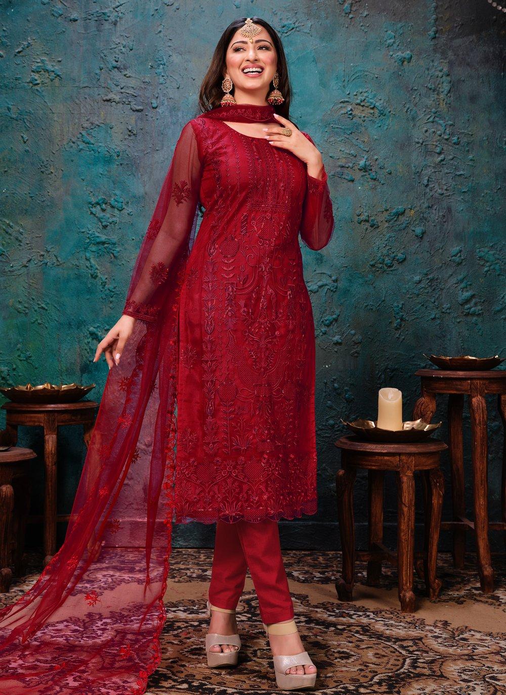 Net Embroidered Red Churidar Designer Suit
