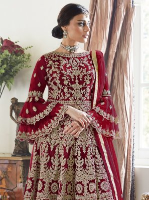 Net Embroidered Red Designer Palazzo Salwar Suit