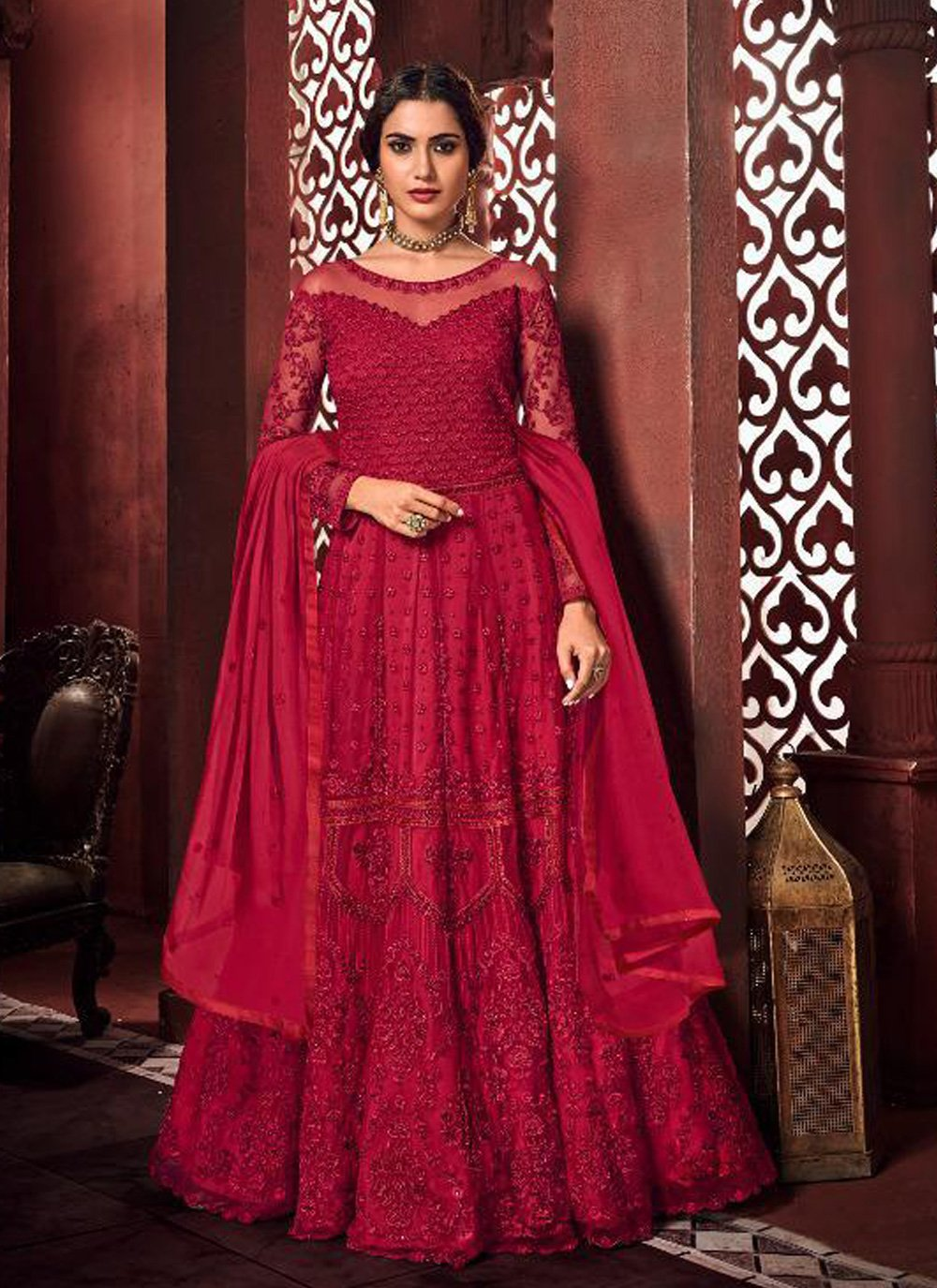 Net Embroidered Red Floor Length Anarkali Suit