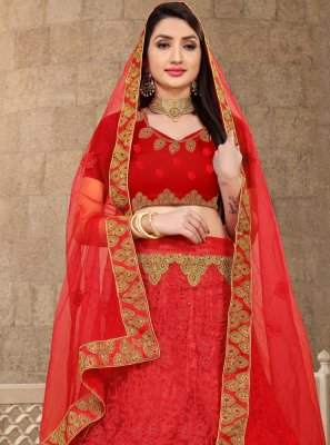 Net Embroidered Red Lehenga Choli