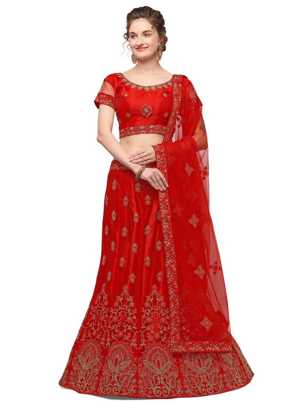 Net Embroidered Red Lehenga Choli