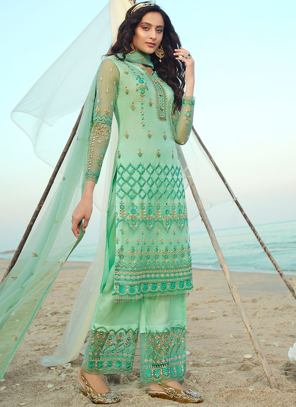 Net Embroidered Sea Green Designer Palazzo Suit