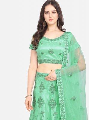 Net Embroidered Sea Green Lehenga Choli