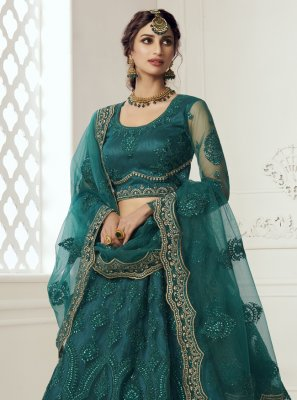 Net Embroidered Teal Lehenga Choli