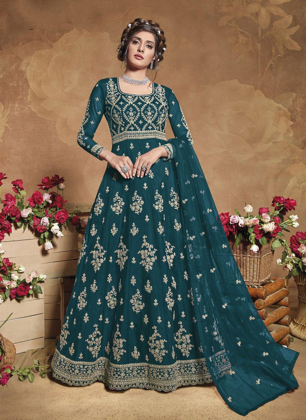 Net Engagement Floor Length Anarkali Suit