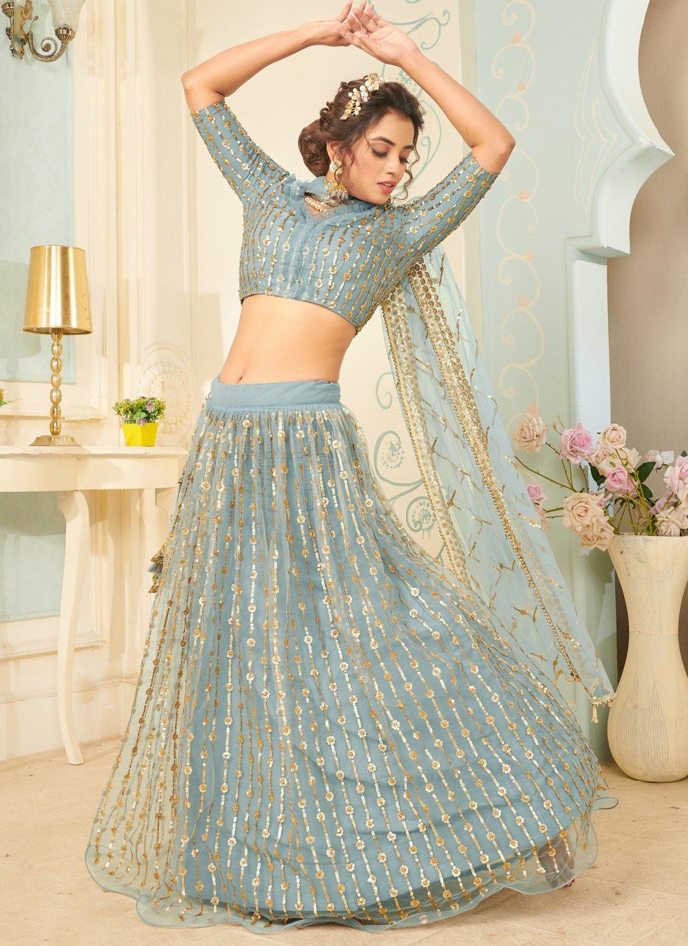 Net Fancy Aqua Blue Lehenga Choli