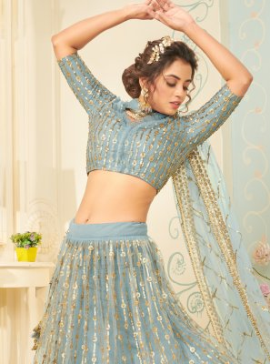 Net Fancy Aqua Blue Lehenga Choli