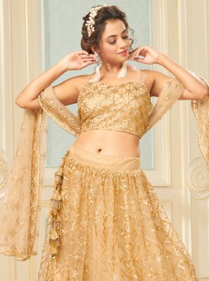 Net Fancy Gold Lehenga Choli