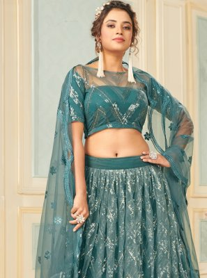 Net Fancy Lehenga Choli in Blue
