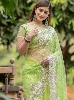 Net Fancy Trendy Saree in Green