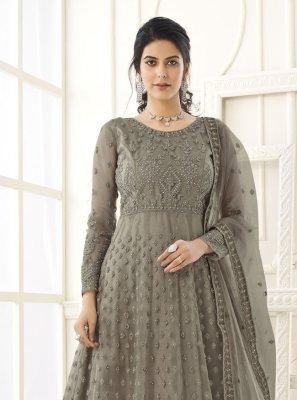 Net Floor Length Anarkali Suit in Grey