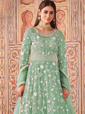 Net Floor Length Designer Suit in Sea Green