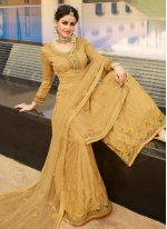 Net Gold Embroidered Designer Palazzo Suit