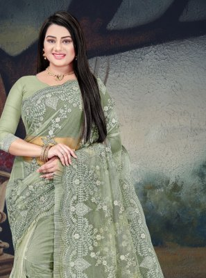 Net Green Resham Classic Designer Saree