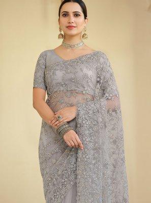 Net Grey Contemporary Saree
