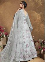 Net Grey Floor Length Anarkali Suit