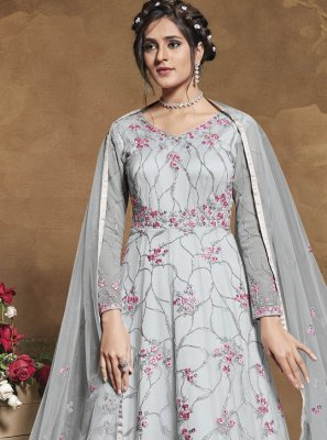 Net Grey Floor Length Anarkali Suit