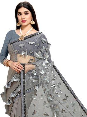 Net Grey Half N Half Designer Saree