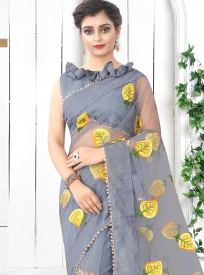Net Grey Print Printed Saree